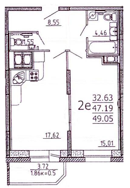 Планировка Однокомнатная квартира площадью 49 кв.м в ЖК «Богатырь-2»