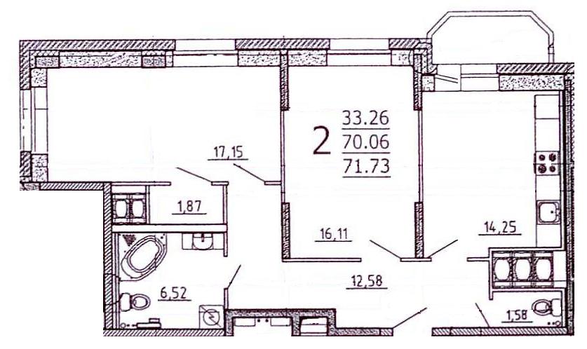Планировка Двухкомнатная квартира площадью 72.1 кв.м в ЖК «Богатырь-2»