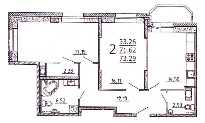Планировка Двухкомнатная квартира площадью 73.7 кв.м в ЖК «Богатырь-2»