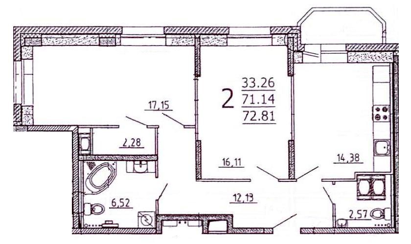 Планировка Двухкомнатная квартира площадью 73 кв.м в ЖК «Богатырь-2»